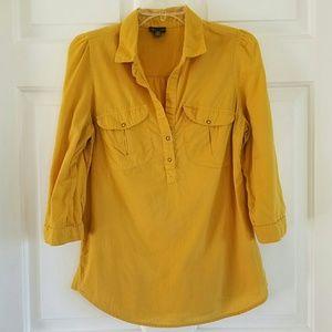 Fei x Anthro/ mustard color half button top